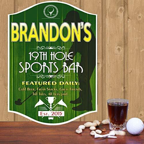 - Burkewrusk Th Hole Golf Personalized Bar Man Cave Pub Decor Vintage Custom Home Classic Clubs Established Date Silhouette Golfer Home Decor Wall Art Plaque
