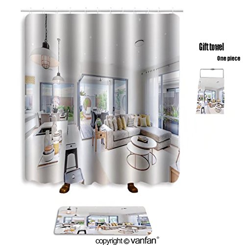 vanfan bath sets with Polyester rugs and shower curtain modern kitchen area attached to the living ro shower curtains sets bathroom 60 x 78 inches&23.6 x 15.7 inches(Free 1 towel and 12 hooks)