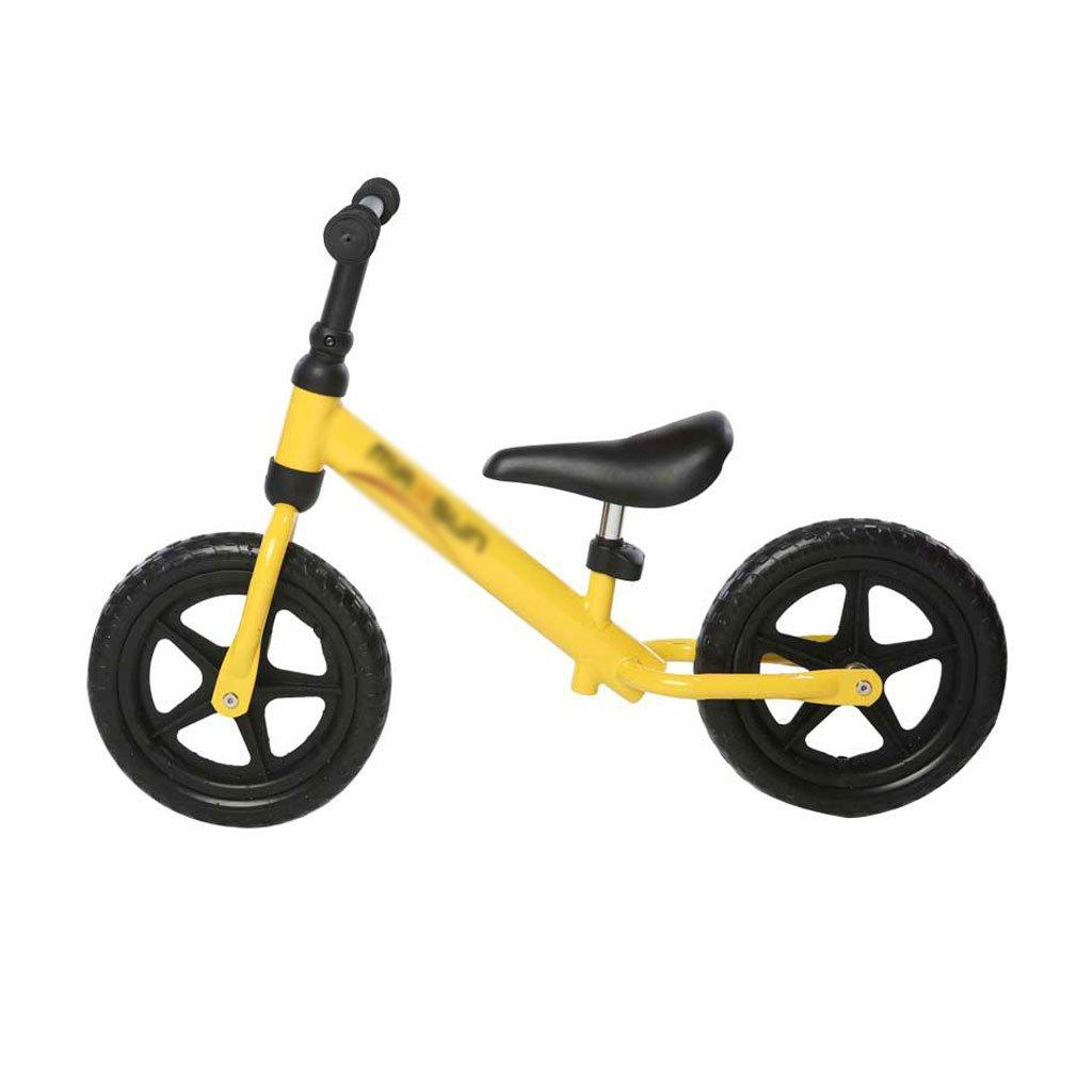 いいえペダル2輪スクーターベビースクーター子供スクーターペダルなしバギー子供ダブルホイール自転車2ラウンドバランスカー2-8歳 B07F59S1N7 イエロー いえろ゜ イエロー いえろ゜