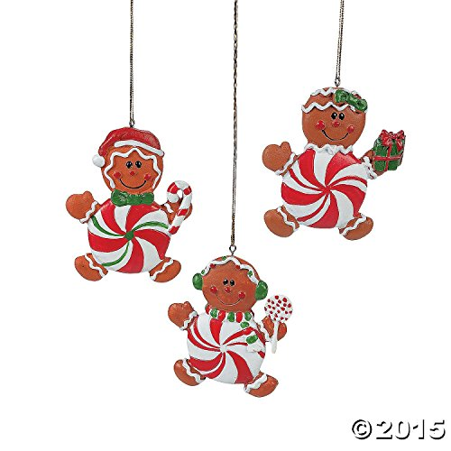 (Peppermint Gingerbread Man Ornaments: package of 12)