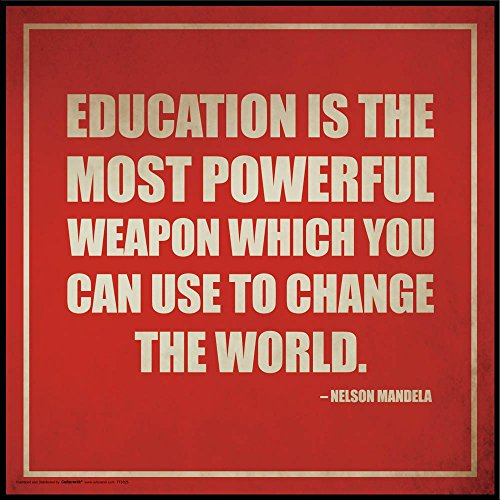 Nelson Mandela Education Inspirational Motivational Quote Poster Print, Framed (Quote Framed Poster)