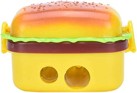 New Pencil With Two Kids Kid Eraser Sharpener 2 Rubbers Stationery Hamburger