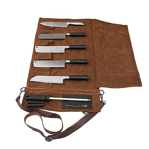 16 Oz Waxed Canvas Fabric Chef Knife Roll Waterproof Multi Purpose Knife Storage Bag with Portable Handle & Adjustable Shoulder Strap (Culinary School Knife Bag)