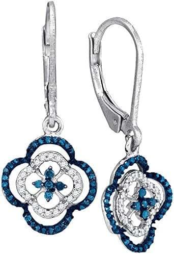 10kt White Gold Mediterranean Blue Diamond Clover Dangle Earrings 1/3 Ctw.