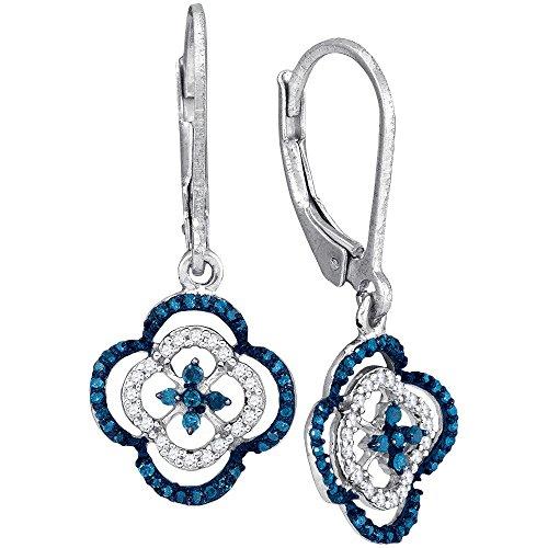 Mediterranean Blue Diamonds 10k White Gold Clover Dangle Earrings 1/3 Ctw.