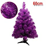 S_SSOY 2 Foot Christmas Trees Artificial Xmas Pine Tree with PVC Leg Stand Base Home Office Holiday Decoration (Purple)
