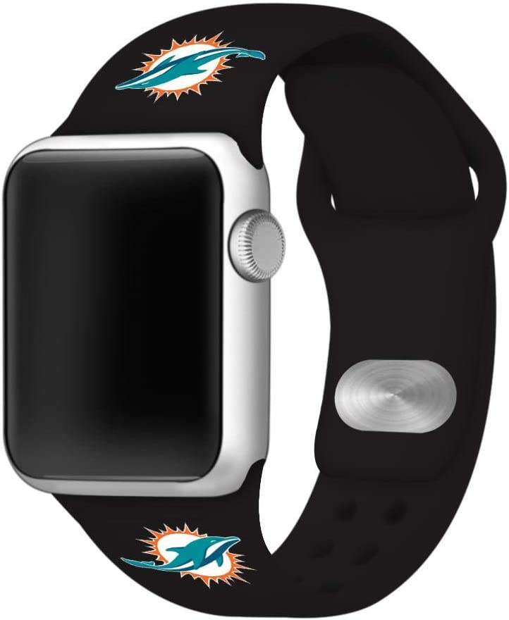 GAME TIME Miami Dolphins Silicone Sport Watch Band Compatible with Apple Watch- 42/44mm (Black)
