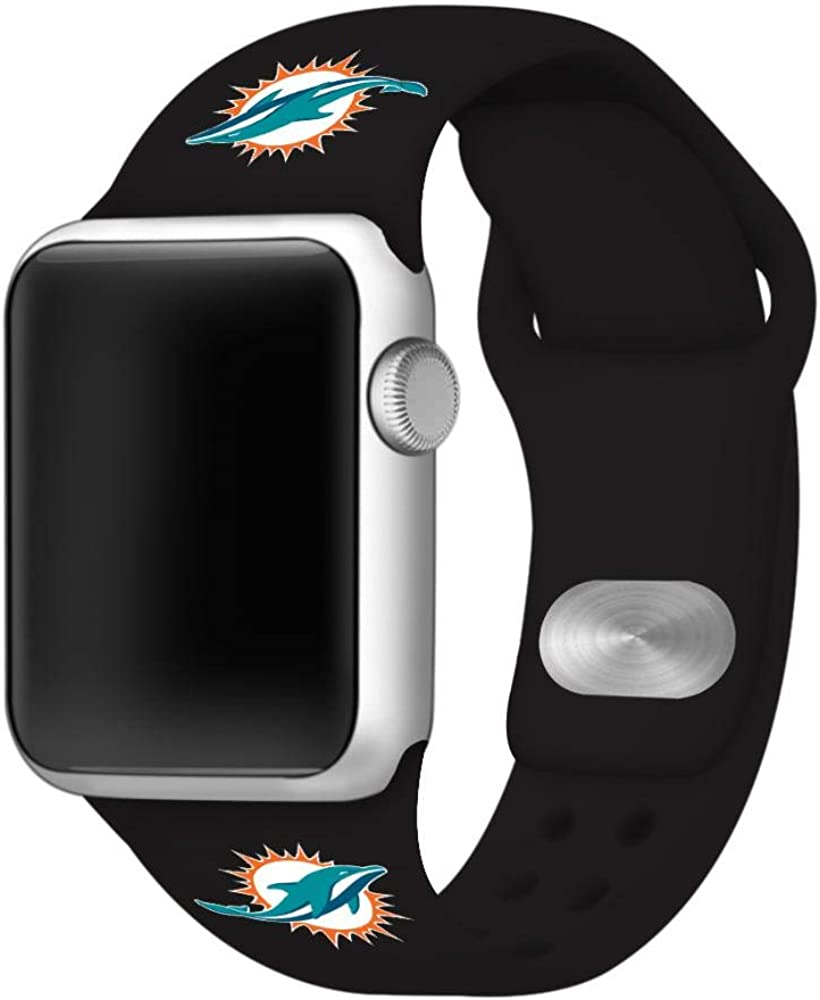 GAME TIME Miami Dolphins Silicone Sport Watch Band Compatible with Apple Watch