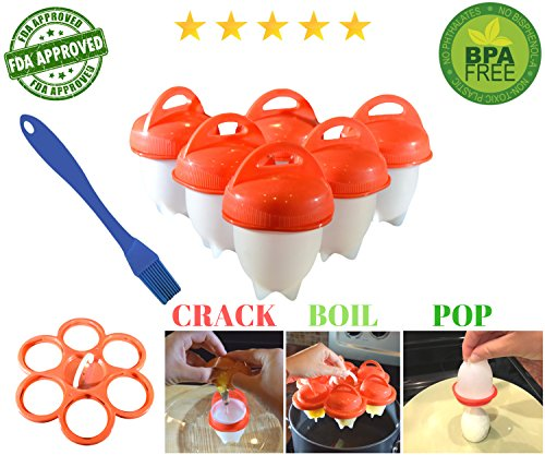 Non Stick Egg Poacher - No.1 Hard Boiled Silicone Egg Cooker Without The Shell, Non Stick Egglettes Poacher, As Seen On TV, With Bonus Holder & Silicone Oil Brush, (6pc), Red