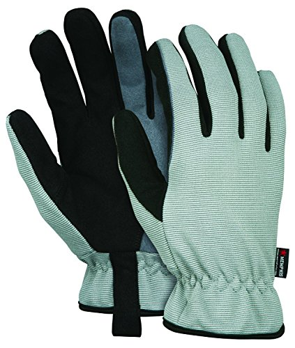 MCR Safety 913M Multi-Task Synthetic Leather Double Palm Gloves, Black and Gray, Medium ()