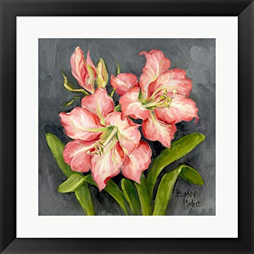 (Starburst Lily Pair by Barbara Mock Framed Art Print Wall Picture, Flat Black Frame, 20 x 20 inches)