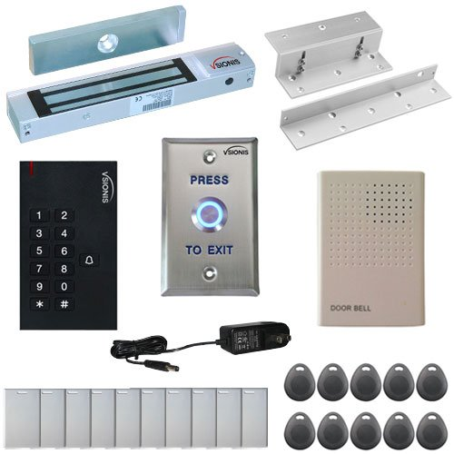 Visionis FPC-5323 One Door Access Control Inswinging Door 300lbs Maglock with VIS-3002 Outdoor Indoor Use Only Keypad/Reader Standalone no software EM Card Compatible 500 Users Kit -