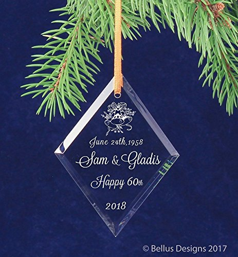 Ornament Personalized Name (60th Diamond Wedding Anniversary Christmas Keepsake Ornament Personalized with Names and date)