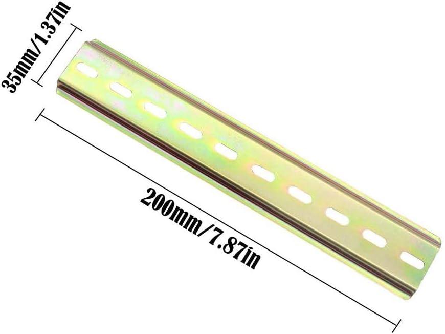 para Contactor y Serie de Terminales de Riel DIN 20 cm // 7,9 Pulgadas de Largo 4 piezas Riel de Montaje DIN de 35 mm Ancho Riel DIN de Dise/ño Ranurado