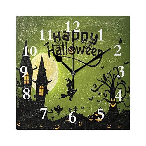 FunnyCustom Square Wall Clock Halloween Witch Wallpaper 7.8 Inch Creative Decorative for Living Room/Kitchen/Bedroom -