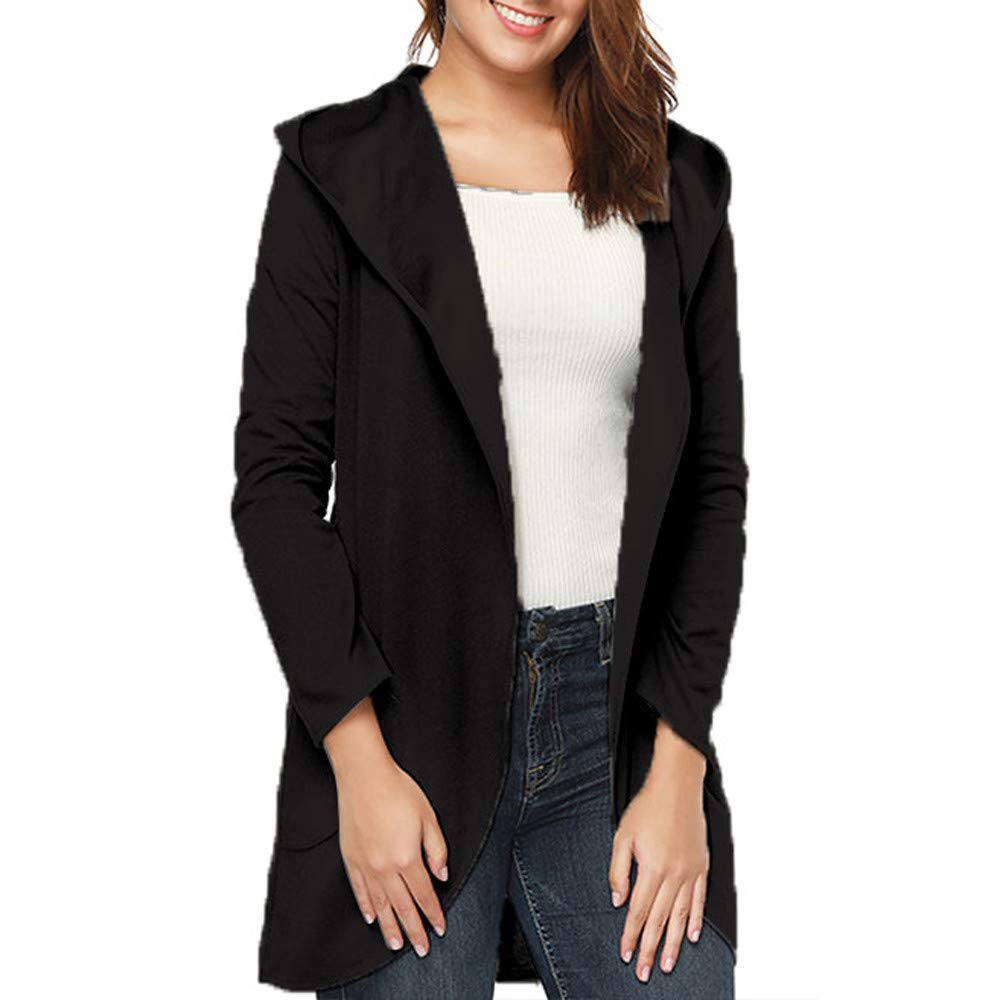 BingYELH Women's Hooded Solid Color Lapel Jacket, Ladies Casual Open Front Long Sleeve Hooded Cardigans Coat Tops Outwear(S,Black)