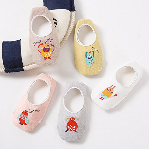 Toddler Non Skid No Show Socks - Low Cut Anti Slip Grip Slippers for Baby Kids Boys Girls 10 Pairs (5-6T, Rabbit) by Junoai (Image #5)
