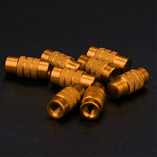 Ecosin Fashion 8 Pcs Cylinder Style Presta French Valve Caps Bicycle Bike Cool Colours (Gold)