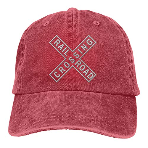 Endool Railroad Crossing Tin Sign Mens Cotton Adjustable Washed Twill Baseball Cap Hat -