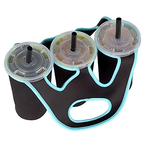 - Freebily Neoprene Insulated Bottle Cup Holder Carrier Tote Bag for Carrying Coffee Soft Drink Beverage Milk Tea Black & Blue One Size