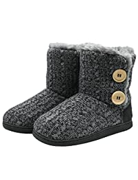 ONCAI Women's Woolen Knit Slipper Boots Floppy Faux Fur Lined Memory Foam Booties Pull on House Shoes