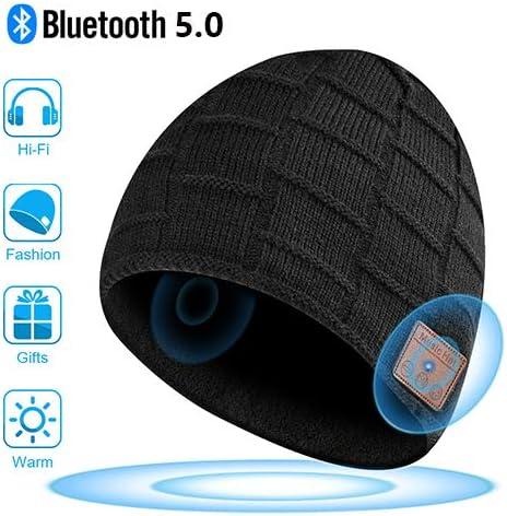 Mains Libres pour la Musique HD et Les appels Cadeaux pour Hommes et Femmes, Bonnet Bluetooth Chapeau Lavable Bluetooth Knit Bonnet Gifts Mise /à Niveau Bluetooth 5.0