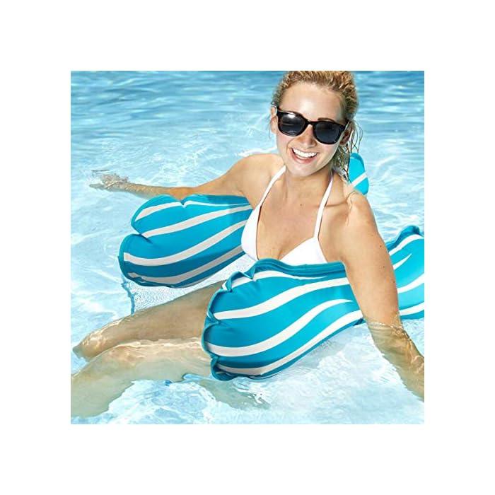 """51mY4qnX84L 【FÁCIL DE ALMACENAR Y LLEVAR】 La hamaca de agua es plegable y compacta, puede inflar y desinflar la hamaca de agua de manera rápida y sencilla. Simplemente enróllelo para guardarlo fácilmente o tírelo cuando sea necesario. Puede llevarlo a un viaje. 【ÚNICO 4-en-1 Y GRAN CAPACIDAD DE CARGA】 Sistema inflable flotante 4-en-1 con dimensiones 52 """"x 26.8"""" (132cm x 68cm) Se convierte en hamaca, sillón, Drifter y sillín de ejercicios. Simultáneamente no tiene necesidad de preocuparse por el límite de peso, manejará hasta 250 libras aunque sea liviano. 【COMODO Y SIN DAÑOS】 Esta hamaca inflable tiene un diseño ergonómico y está cubierta con tela laminada de PVC, brinda mucho apoyo y abundancia de confort. No tienen olor y no son tóxicos, son seguros y no dañan su salud. Puede disfrutar del tiempo de padres e hijos con sus hijos en la piscina, se recomienda que los niños vayan acompañados de adultos."""