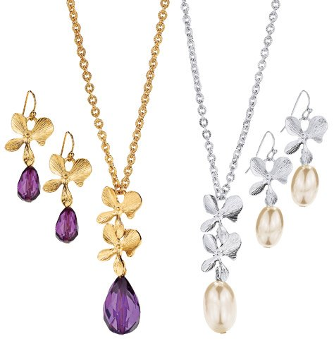 Fancy Floral Necklace and Earring Gold Tone Gift Set