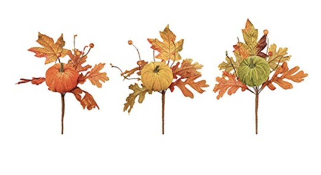 Vibrant Fall Artificial Leaf Picks with Pumpkins and Berries- Set of 3 toyco