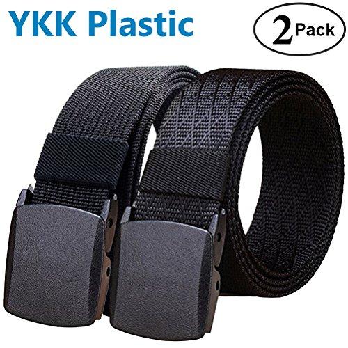 ry Tactical Web Belt, 2 Pack Nylon Canvas Webbing YKK Plastic Buckle Belt (Heavy Duty Nylon Web)