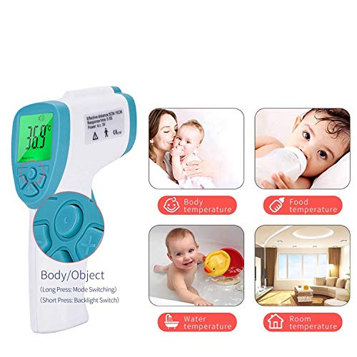 Maple_Leaf Non-Contact Forehead Thermometer, Portable Home and Medical Temperature Gun with 3 Color Backlit LCD for Infants, Children and Adults with Fever Indicator