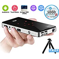 ICANZUO P9T Pocket Projector Touch Panel Mini Android Smart Projector 1080p HD Support Slim Wireless with Built-in Batteries and LiveTV Services