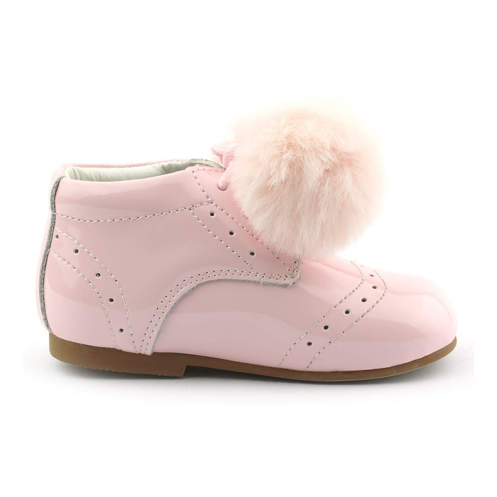 341a0fed7 Couche Tot Baby Girls Leather Patent Spanish Style Pom Pom Boot Size UK2  UK8.5 Lace Up