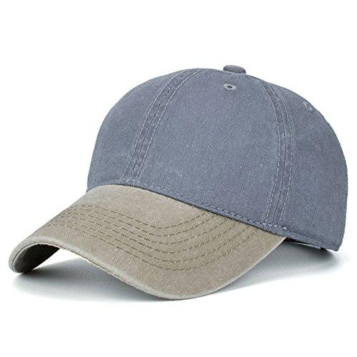 (HH HOFNEN Unisex Washed Twill Cotton Baseball Cap Vintage Adjustable Dad Hat (Khaki + Grey))