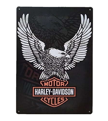 UNiQ Designs Harley Davidson Metal Signs Motorcycle Sign White Eagle Motorcycle Wall Decor-Biker Signs for Man Cave Tin Signs Harley Signs Motorcycle Posters for Wall Motorcycle Decor for home 12 x 8