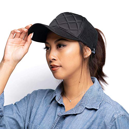 LoveLife Quilted Ponytail Baseball Hats (Black) by LoveLife (Image #3)