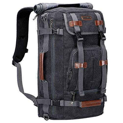 WITZMAN Canvas Backpack Vintage Travel Backpack Hiking Luggage Rucksack Laptop Bags (A519-1 Black)