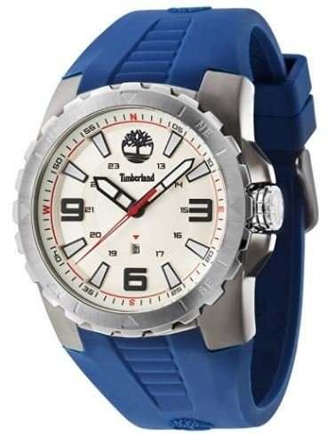 Timberland Men's Blue Rubber Band Quartz Beige Dial Analog Watch 14478JSUS/07P