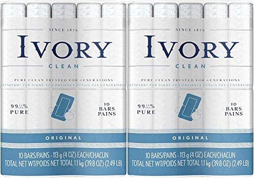 Ivory Clean Original Bar Soap, 4 Ounce, 10 Count (Pack of 2) Total 20 Bars
