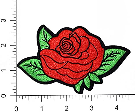 1 Piece Rose Flower Leaves Sequined Applique//Patch Motif Sew On Green Red Black