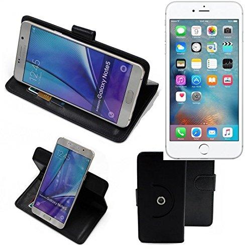 360° Schutz Hülle Smartphone Tasche für Apple iPhone 6s Plus, schwarz | Wallet case Flipcase Flipstyle Cover Tasche - K-S-Trade (Wir zahlen Steuern in Deutschland!)