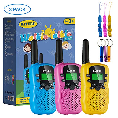 SANJOIN Walkie Talkies, Walkie Talkies for Kids, 22 Channels 2 Way Radios Walkie Talkies with Backlit LCD Flashlight, 3 Mile Range Kids Walkie Talkies for Outside Adventures, Camping, Hiking - 3 Pack
