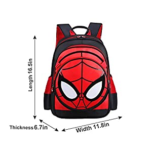 SUNBABY Boys' Backpack Spiderman Fans Gift Waterproof Comic School Bag With Lunch Kit (Spiderman-black, One Size)