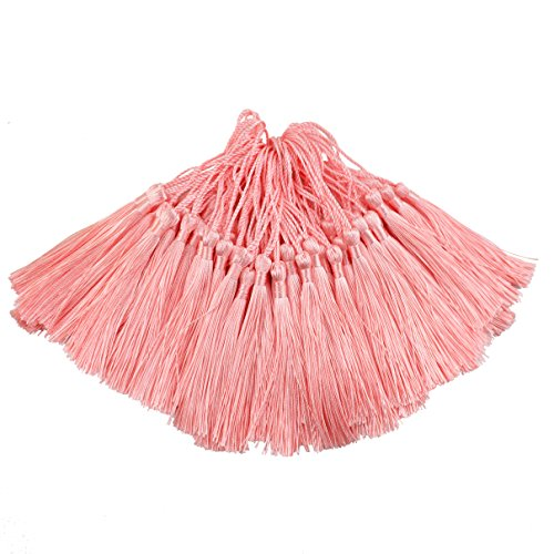 Pink Tassel - 100pcs 13cm/5 Inch Silky Floss Bookmark Tassels with 2-Inch Cord Loop and Small Chinese Knot for Jewelry Making, Souvenir, Bookmarks, DIY Craft Accessory (Light Pink)