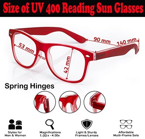 1 Black de Reader para Unisex marca UV de nbsp;fuerza de gafas 5 hombre lectores Mujer 4sold sol lectura carey nbsp;marrón 4sold sol Rubi UV400 gafas Estilo wzSF7I