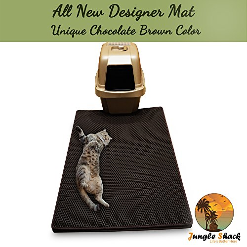 Cat Litter Mat XL 39'' X 26.5'' -Best Extra Large Easy to Clean Mats - Brush Away Debris -Deep Grooves to Catch Kitty Litter Scatter -Durable Non-Slip Bed -Great for Litter Boxes -Purrfect for Paws! by Jungle Shack