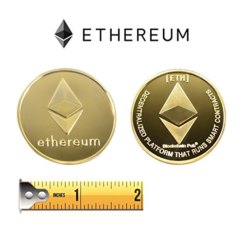 1 Ounce Color Splash - Golden Plated Ethereum Coin-ETH Physical Metal Guritta Token ICO Digital Blockchain Crypto Currency You Hold For Commemorative Collection In Plastic Holder Case|Great Funny Gift For Boy/Girl/Woman/Man