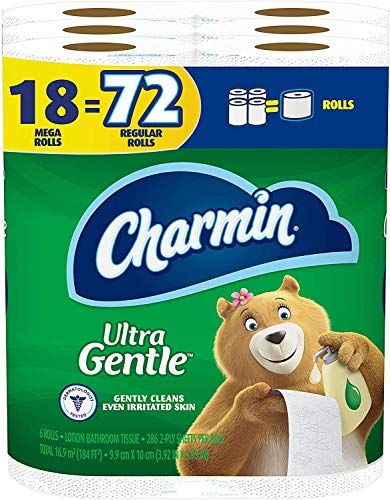Image of Charmin Ultra Gentle Toilet Paper, 18 Mega Rolls = 72 Regular Rolls