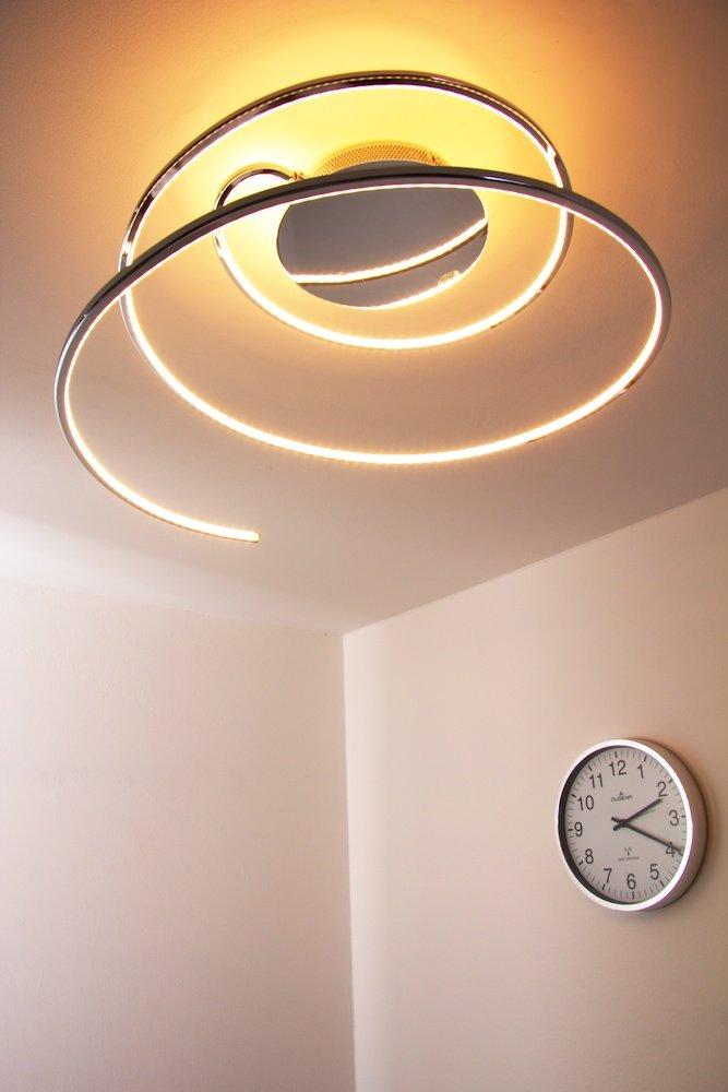 Deckenleuchte LED Ringos – Lichtleisten extravaganter Strahler mit ringförmigen Lichtleisten – – ovale Elemente drehbar - Zimmerlampe für Wohnzimmer – Schlafzimmer – Strahler aus Metall in Chrom – 3000 Kelvin f3896f