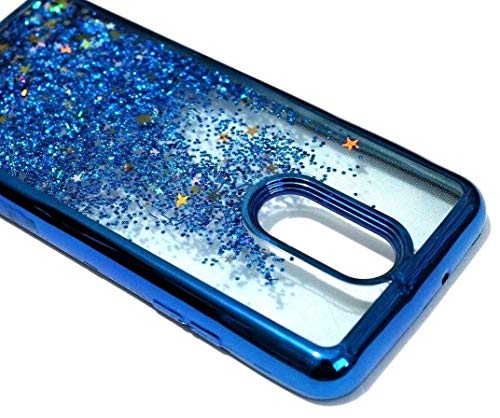 LG Stylo 4 / Stylo 4 Plus Case Cover - Hybrid Rubber Glitter Liquid  Waterfall Quicksand Skin Case Cover (Blue Glitter)
